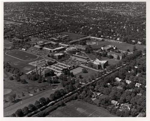 Adelphi campus, aerial view facing southwest