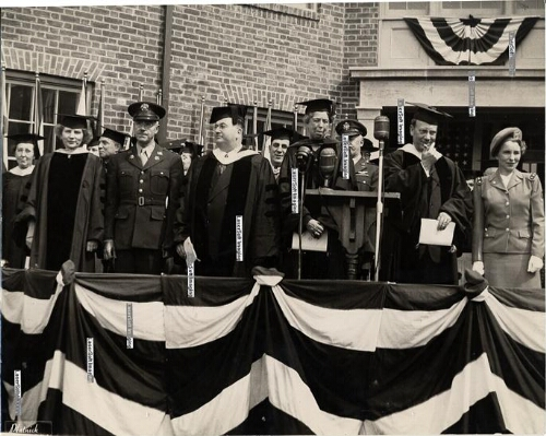 Eleanor Roosevelt at the dedication of the School of Nursing residence halls