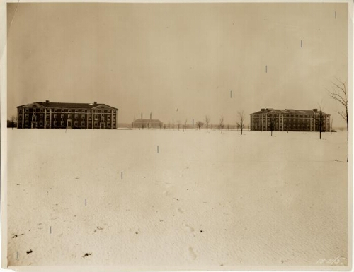 Levermore, Woodruff, and Blodgett buildings in the snow.